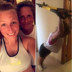 Janni træner med sin mor på en rejse